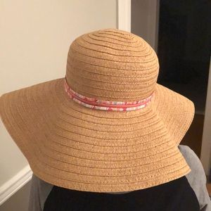 Tan Beach Hat with pink ribbon